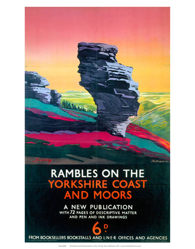 "Rambles on the Yorkshire Coast and moores 24"" x 32"" Matte Mounted Print"