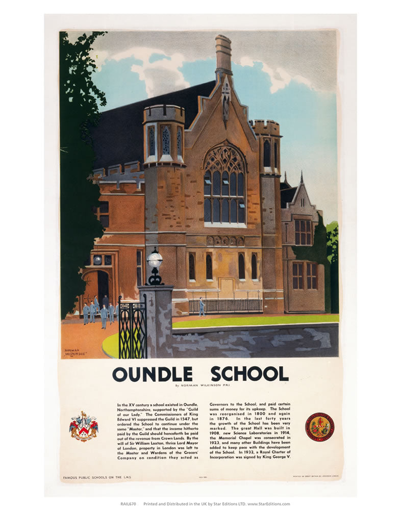 "Oundle School painting 24"" x 32"" Matte Mounted Print"