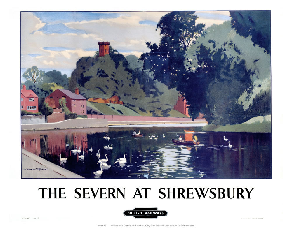 "Severn at Shrewsbury - British Railways 24"" x 32"" Matte Mounted Print"