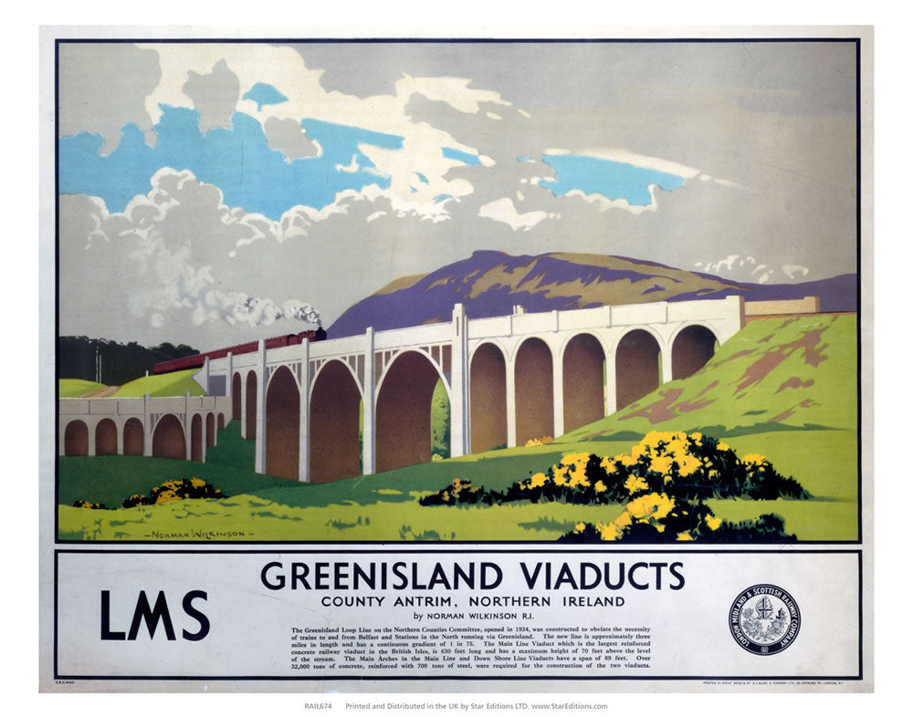 "Greenisland Viaducts - Northern Island county Antrim LMS 24"" x 32"" Matte Mounted Print"