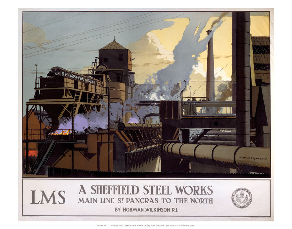 "Sheffield Steel Works - Main line St Pancras to the north 24"" x 32"" Matte Mounted Print"
