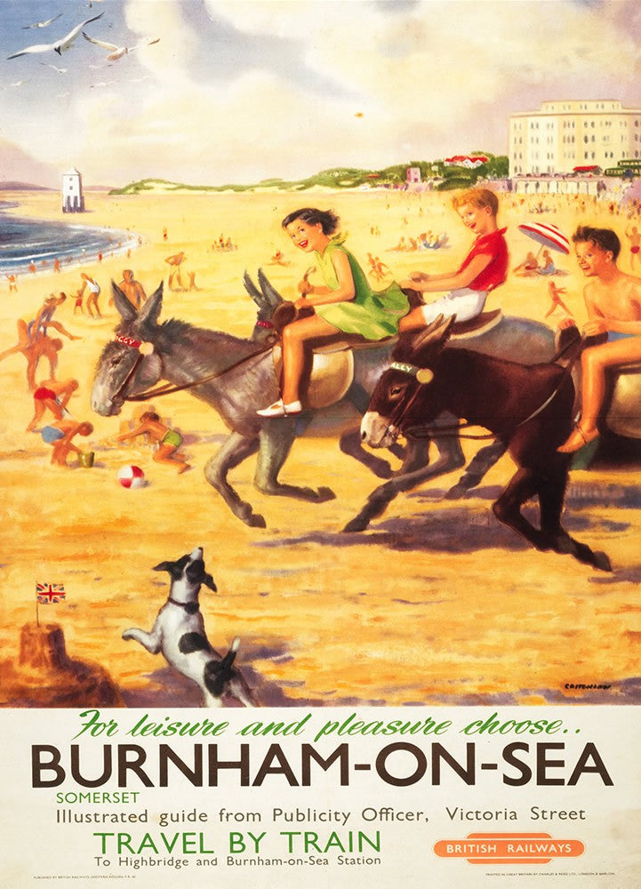 "Burnham-on-sea donkies - For Leisure and Pleasure 24"" x 32"" Matte Mounted Print"