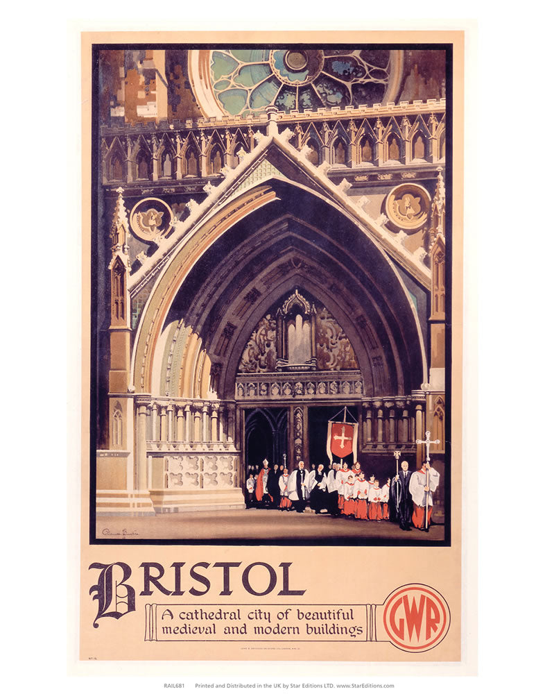 "Bristol - A Cathedral city of beautiful medieval and modern buildings 24"" x 32"" Matte Mounted Print"