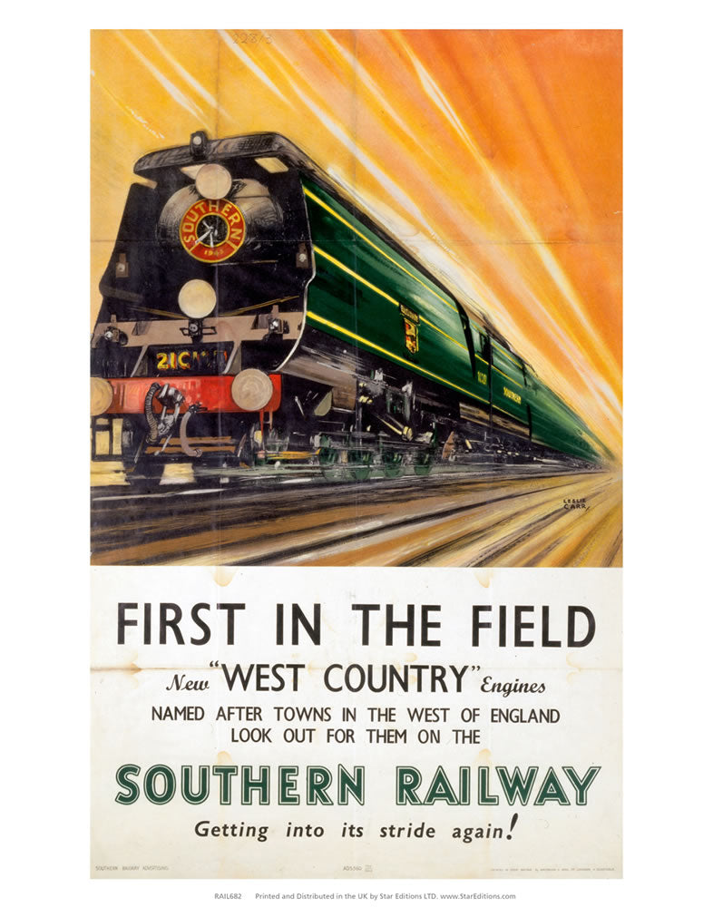 "First in the field west country engines - Southern Railway 24"" x 32"" Matte Mounted Print"
