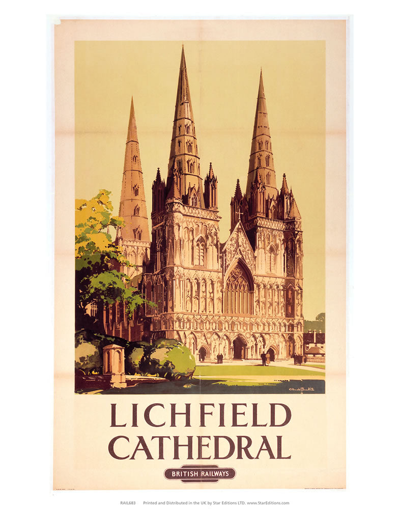"Lichfield Cathedral by British Railways 24"" x 32"" Matte Mounted Print"