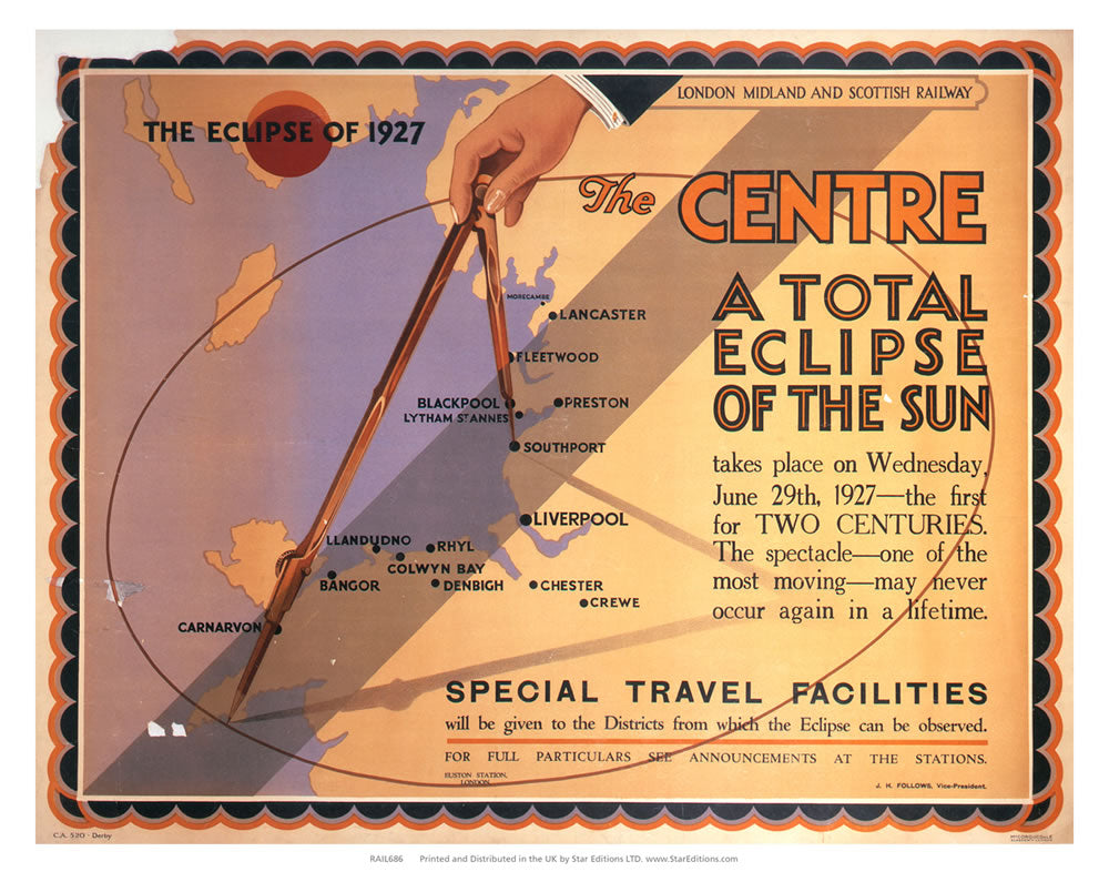 "The Eclipse of 1927 - The Center. A total Eclipse of the sun 24"" x 32"" Matte Mounted Print"