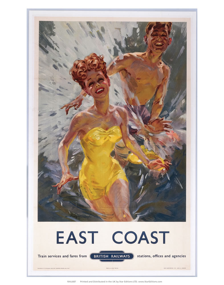 "East Coast - Water fight in swimsuits by british railways 24"" x 32"" Matte Mounted Print"
