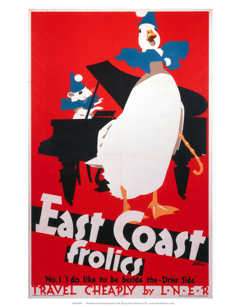 "East Coast Frolics - Duck and Mouse act 24"" x 32"" Matte Mounted Print"