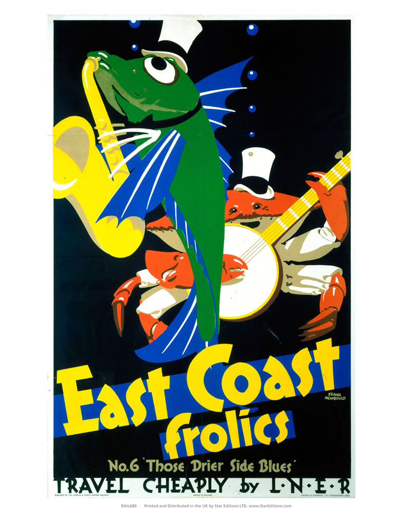 "East Coast Frolics - Fish and Crab musicians 24"" x 32"" Matte Mounted Print"