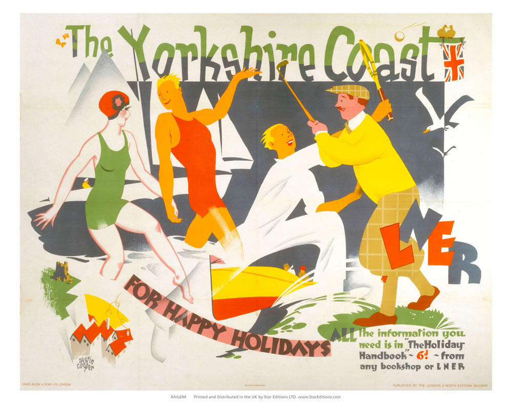 "Yorkshire Coast for happy holidays -LNER 24"" x 32"" Matte Mounted Print"