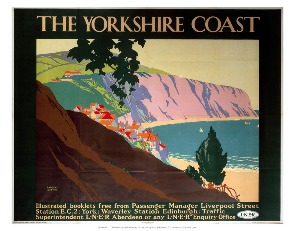 "Yorkshire Coast - Hillside town on the coast 24"" x 32"" Matte Mounted Print"