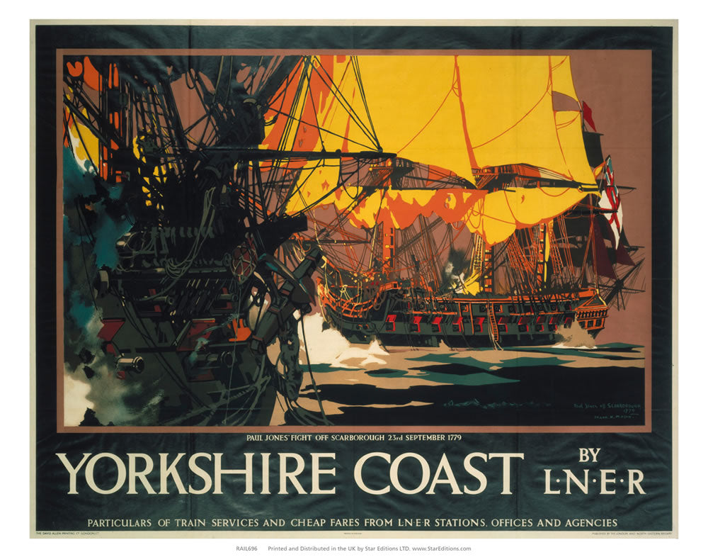 "Yorkshire Coast - Paul jones fights off scarbough 23rd sept 1779 24"" x 32"" Matte Mounted Print"