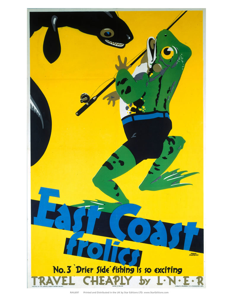 "East Coast Frolics - Frog with fishing rod 24"" x 32"" Matte Mounted Print"