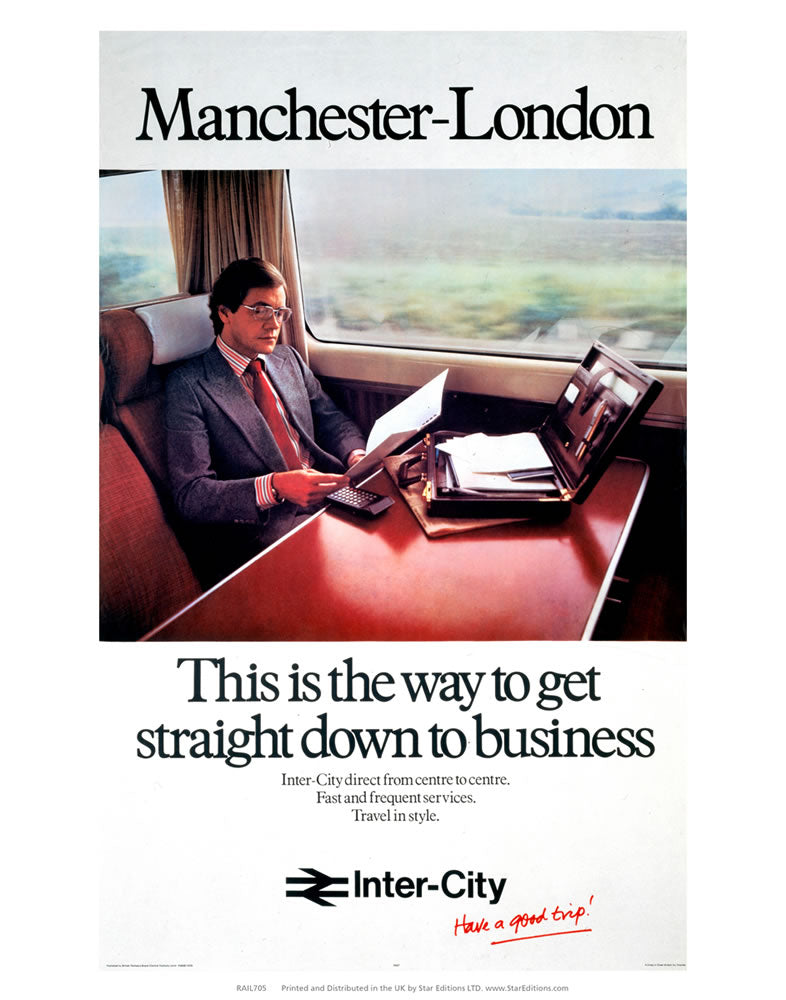 "Manchester to london - Straight down to business 24"" x 32"" Matte Mounted Print"