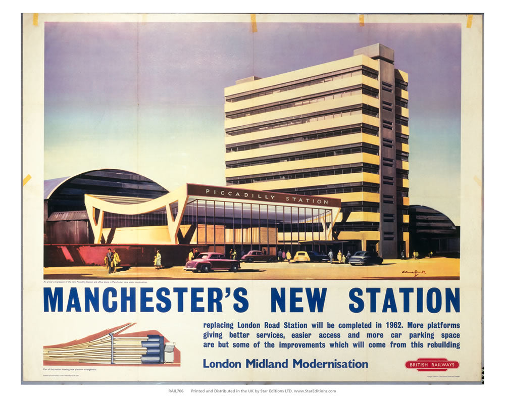 "London midland modernisation - Manchesters new station 24"" x 32"" Matte Mounted Print"