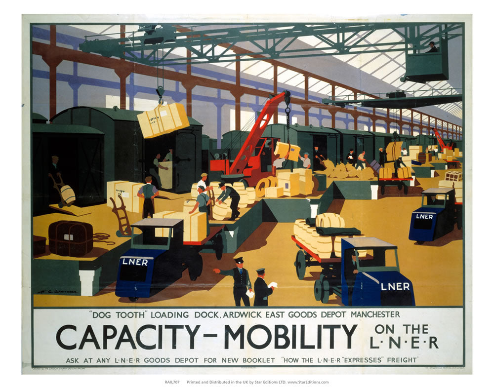 "Capacity and Mobility - Dog tooth loading dock 24"" x 32"" Matte Mounted Print"