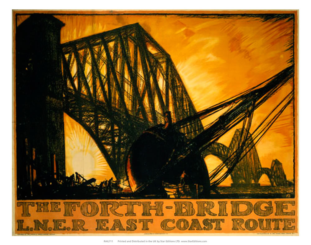 "The Forth Bridge - Sunset drawing by LNER East coast 24"" x 32"" Matte Mounted Print"