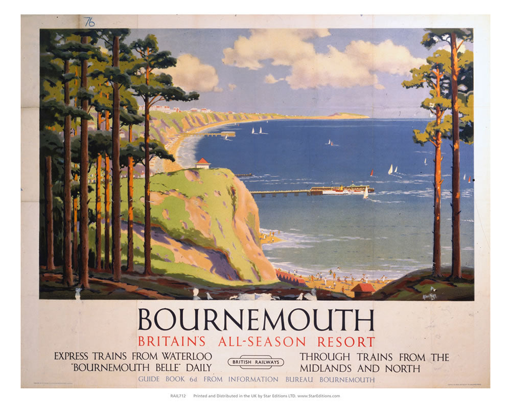 "Bournemouth - Britains all season resort by British railway 24"" x 32"" Matte Mounted Print"