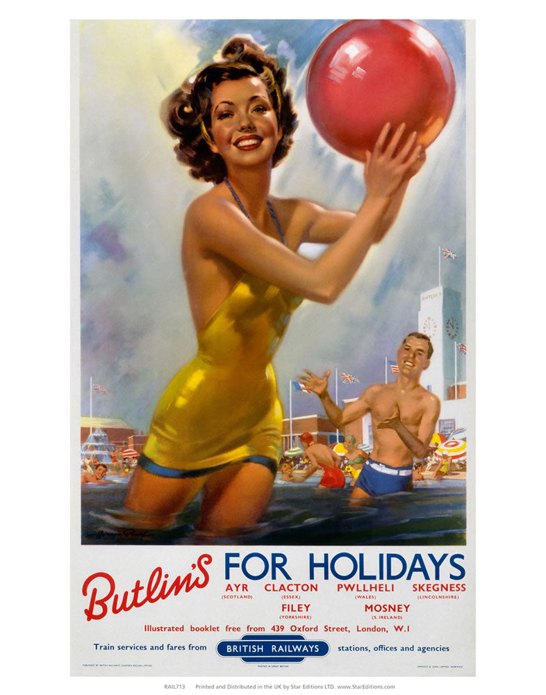 "Butlins for Holidays - Ayr Clacton Pwllheli Skegness Filey Mosney 24"" x 32"" Matte Mounted Print"
