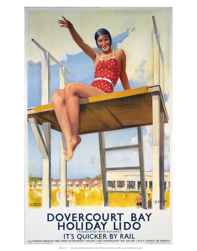 "Dovercourt bay holiday lido - Red swimsuit 24"" x 32"" Matte Mounted Print"