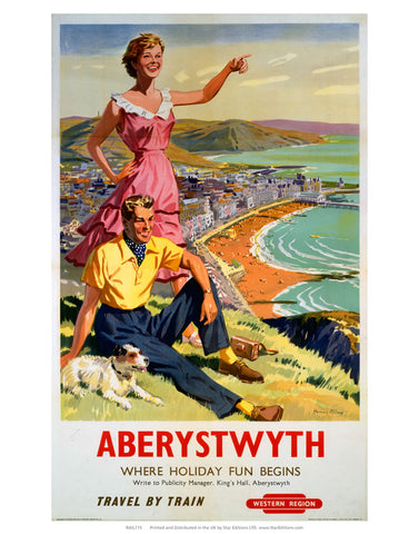 "Aberystwyth where holiday fun begins - travel by train Western Region 24"" x 32"" Matte Mounted Print"