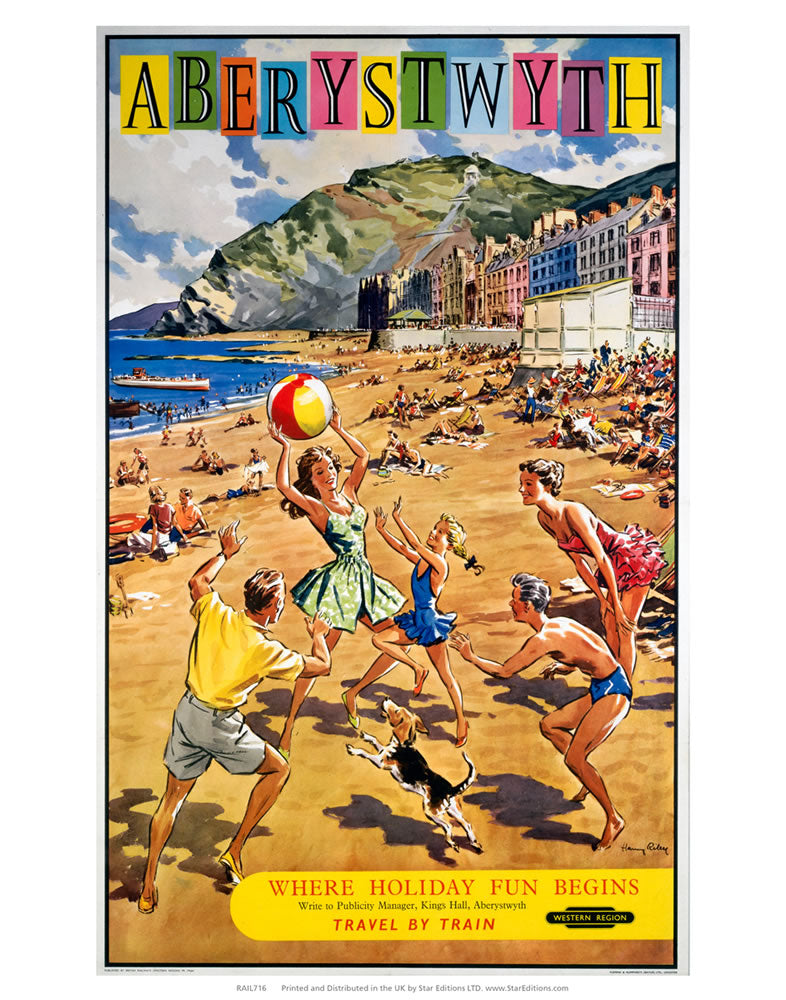 "Where Holiday fun Begins - Aberystwyth beach sceen 24"" x 32"" Matte Mounted Print"