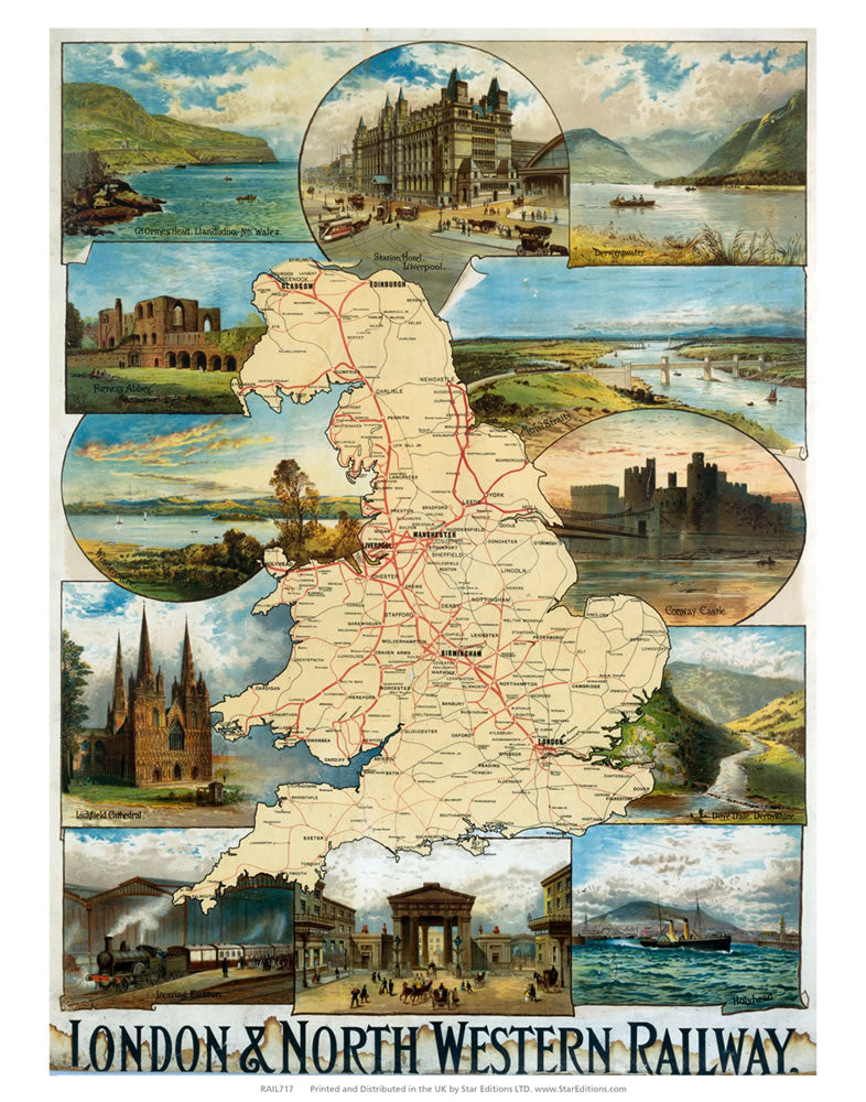 "UK Map London and north Western Railway 24"" x 32"" Matte Mounted Print"