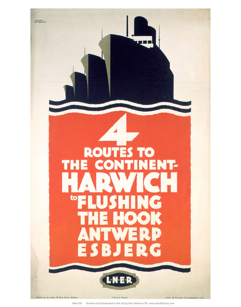 "4 Route to the Continent - Harwich LNER 24"" x 32"" Matte Mounted Print"