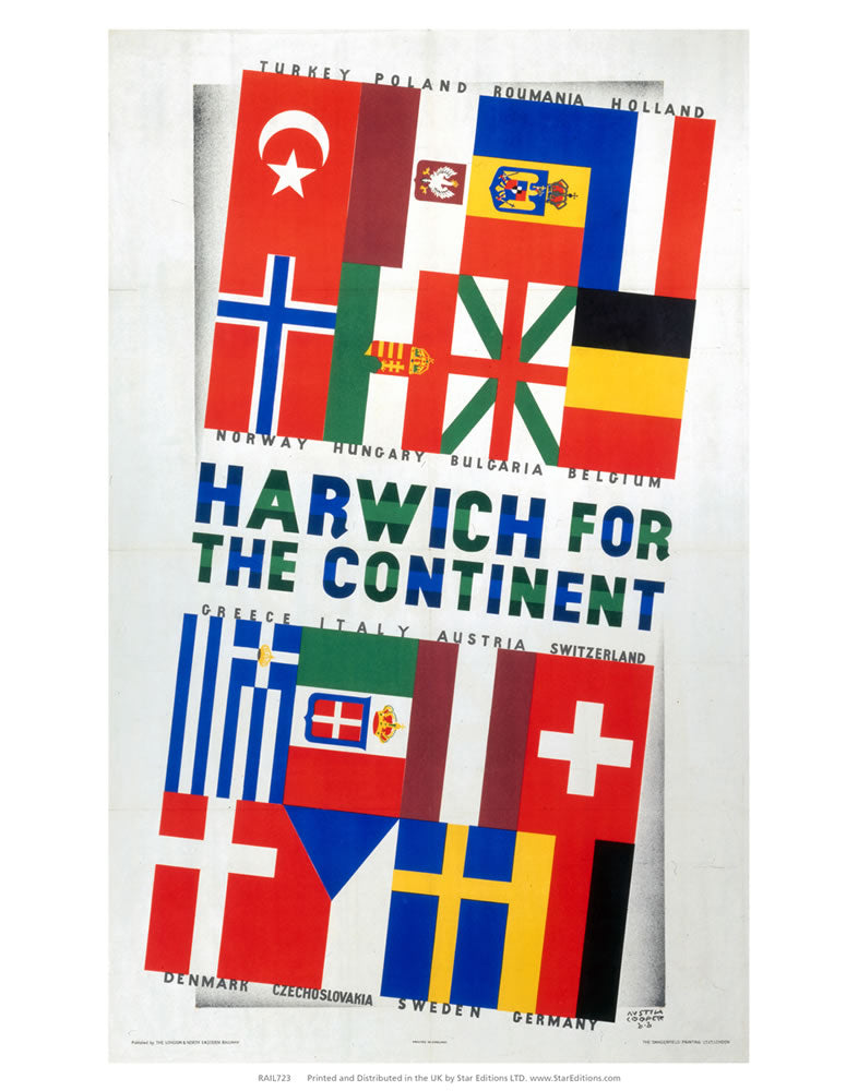"Harwich for the continent - flags poster 24"" x 32"" Matte Mounted Print"