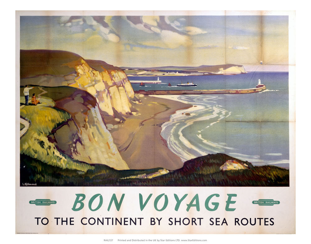 "Bon Voyage - Continent by sea routes British Railways 24"" x 32"" Matte Mounted Print"