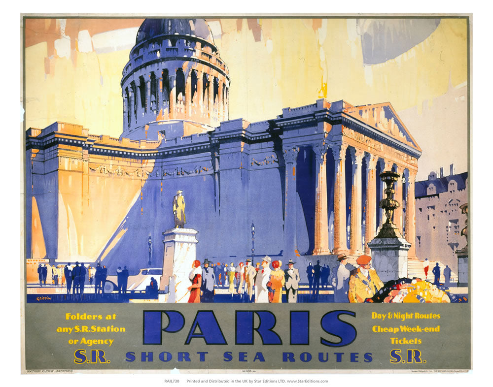"Paris - Short Sea Routes SR Station or agency 24"" x 32"" Matte Mounted Print"
