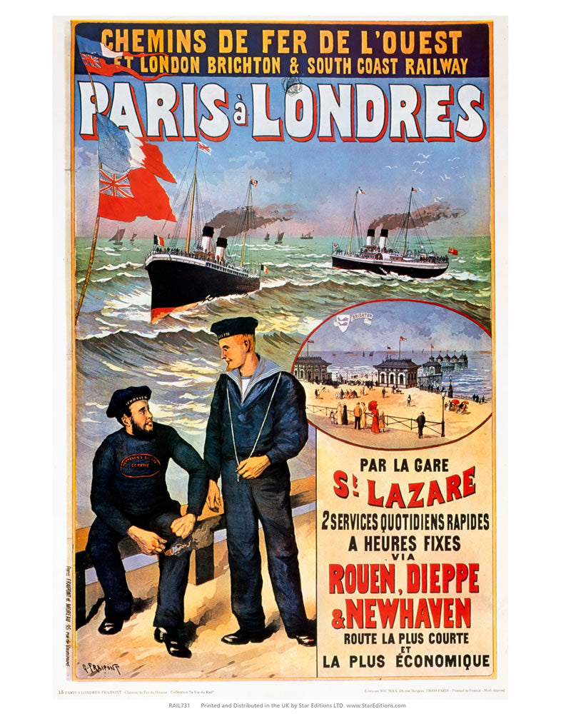 "Paris a Londres - Sailors par la gare 24"" x 32"" Matte Mounted Print"