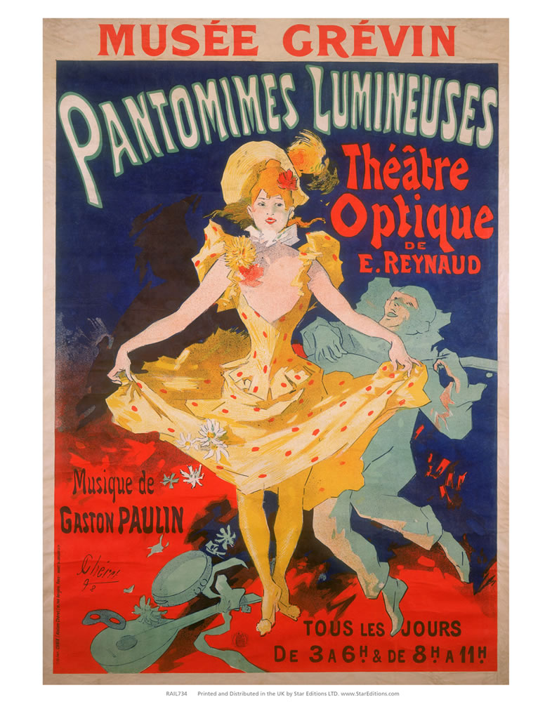 "Pantomimes Lumineuses - Theatre optique 24"" x 32"" Matte Mounted Print"