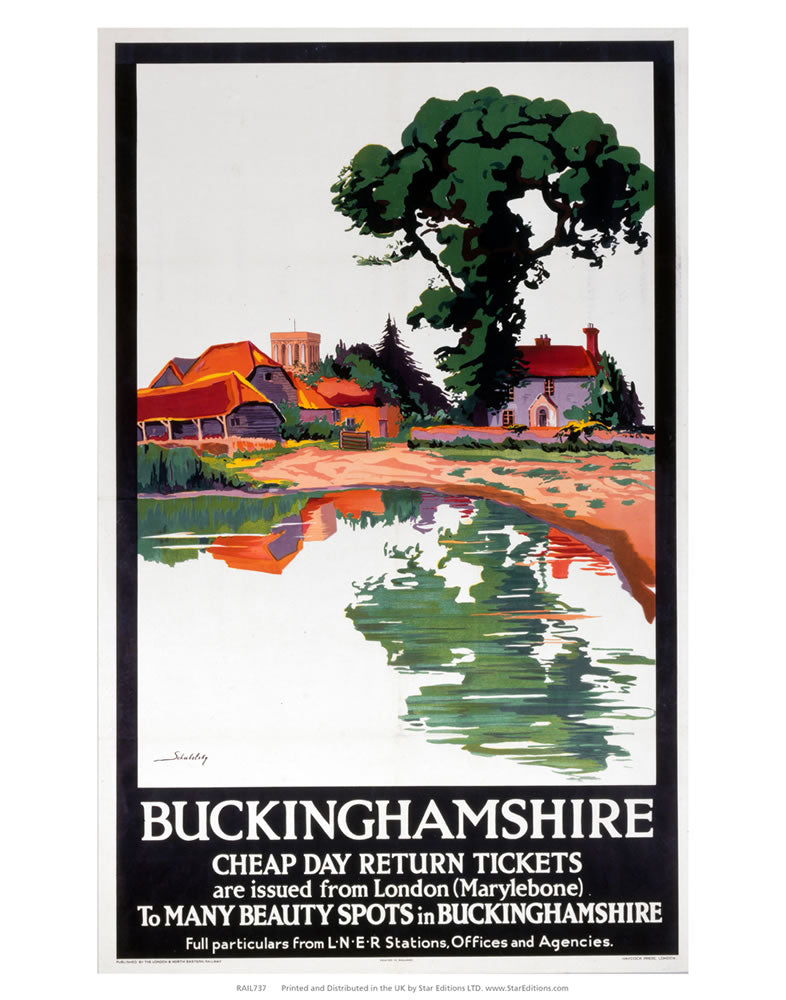 "Buckinghamshire - Cheap day return to many beauty spots 24"" x 32"" Matte Mounted Print"