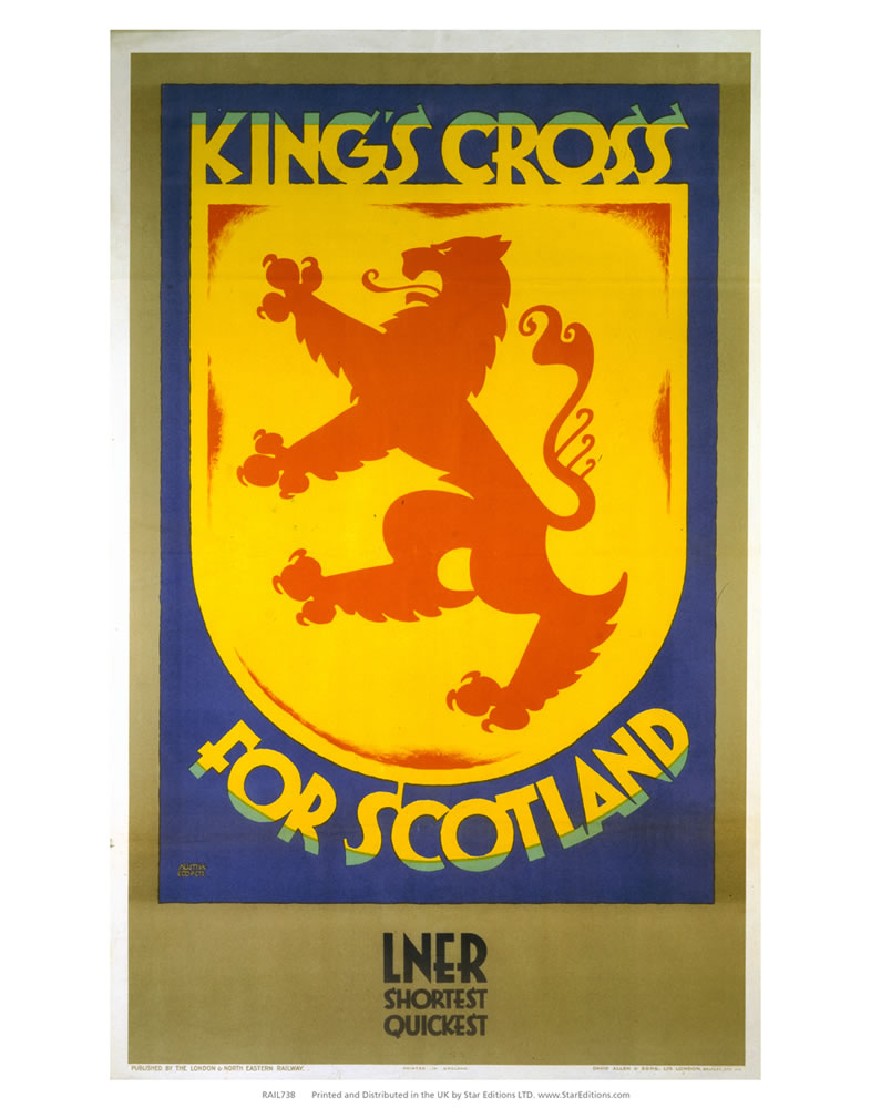 "Kings cross for scotland shield LNER poster 24"" x 32"" Matte Mounted Print"