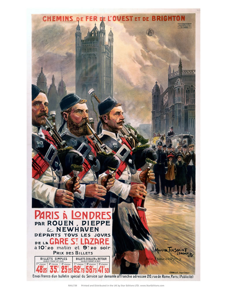 "Paris a Londres bagpipe players 24"" x 32"" Matte Mounted Print"