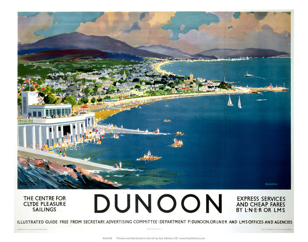 "Dunoon - Center for Clyde Pleasure Sailings coastline painting 24"" x 32"" Matte Mounted Print"