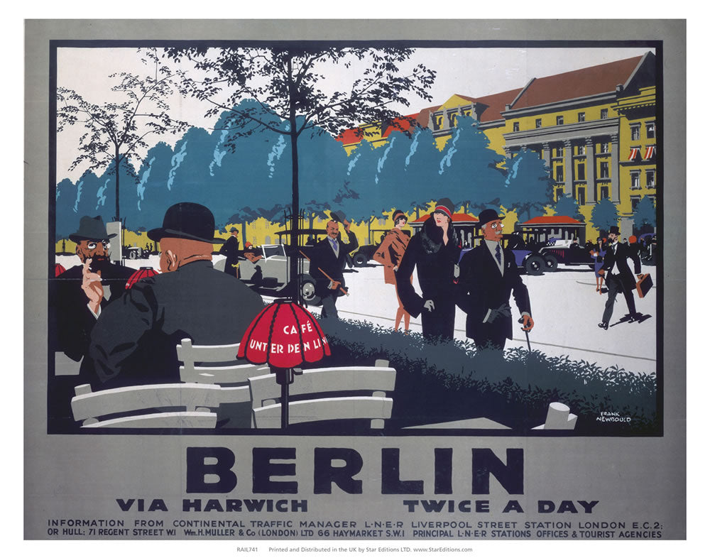 "Berlin twice a day - Businessmen at streetside cafe 24"" x 32"" Matte Mounted Print"