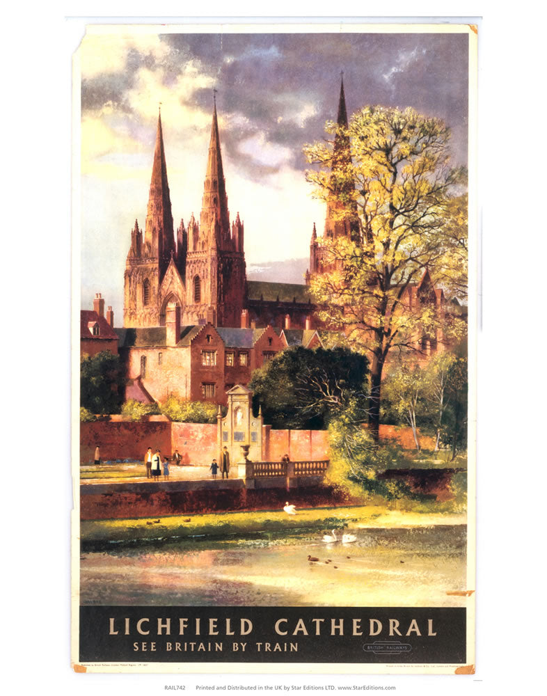 "Lichfield Cathedral - See britain by train 24"" x 32"" Matte Mounted Print"