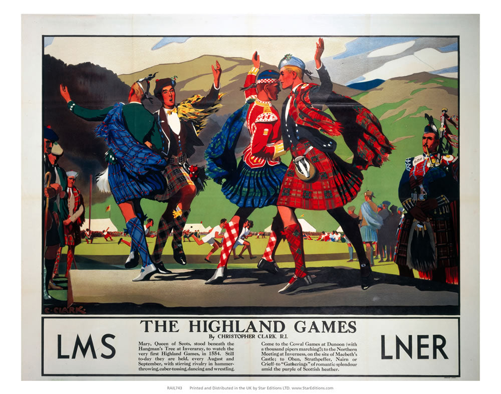 "The Highland Games with bagpipe player - LMS and LNER 24"" x 32"" Matte Mounted Print"