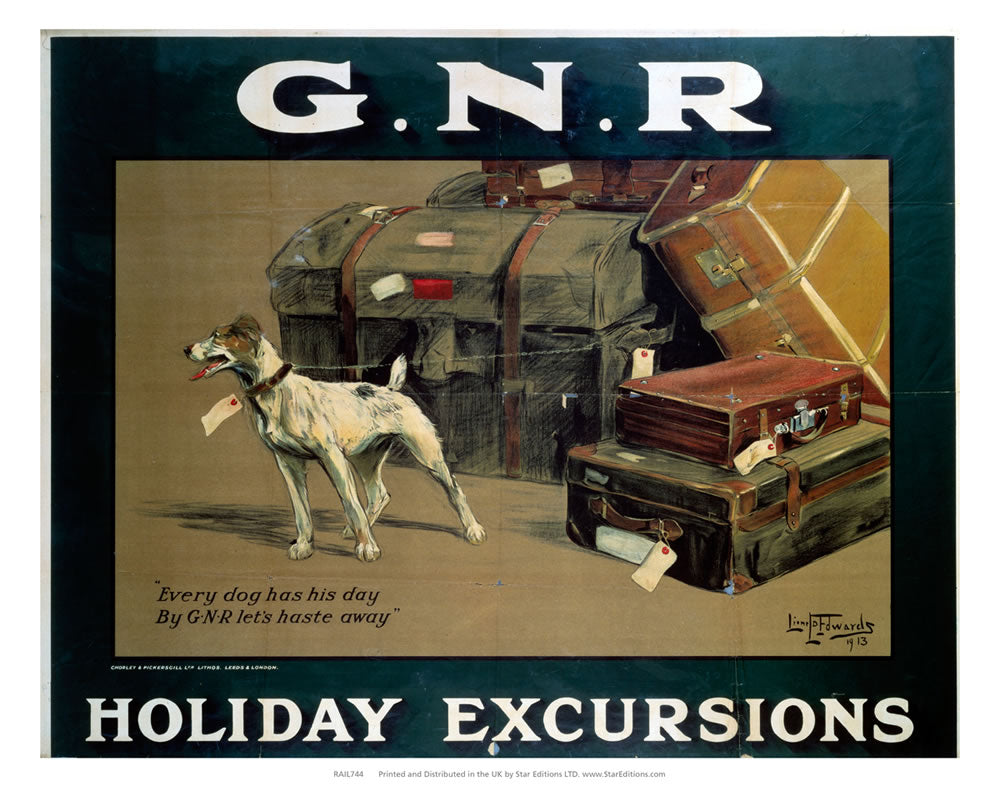 "Holiday Excursions - Every dog has his day 24"" x 32"" Matte Mounted Print"