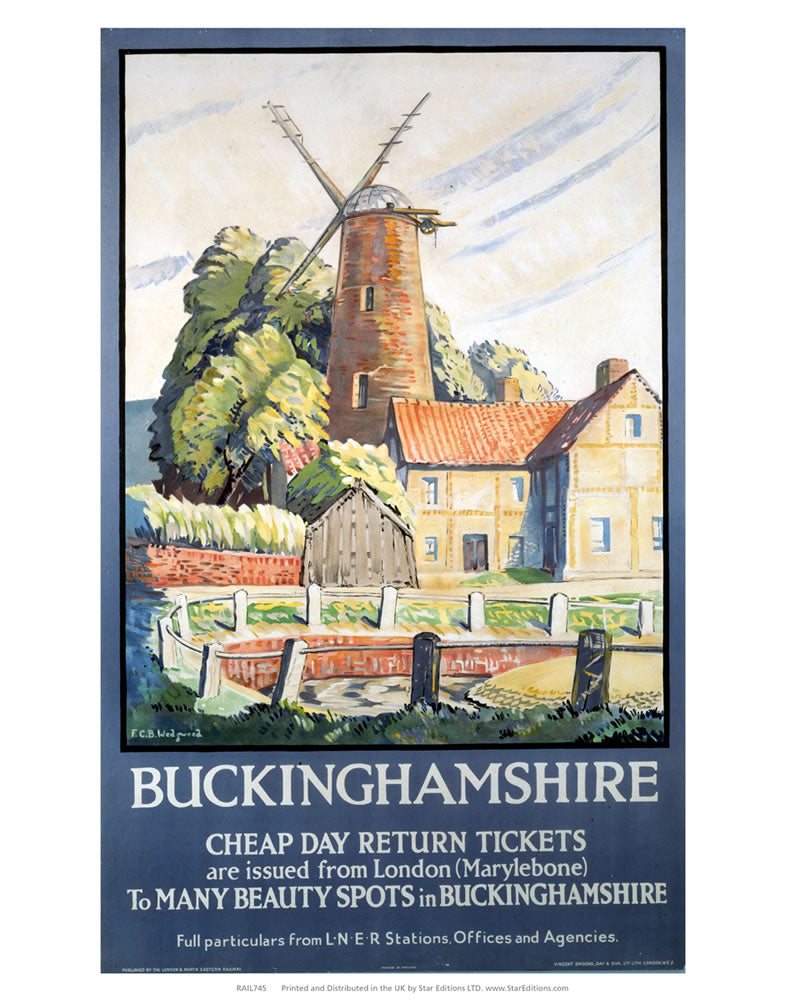 "Buckinghamshire windmill - Cheap tickets to many beauty spots 24"" x 32"" Matte Mounted Print"