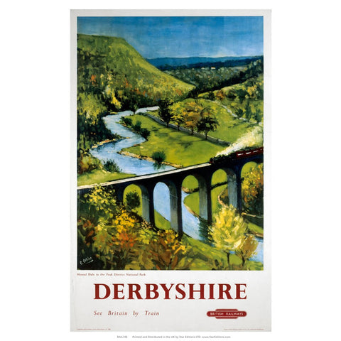 "Derbyshire Viaduct - See britain by train valley 24"" x 32"" Matte Mounted Print"