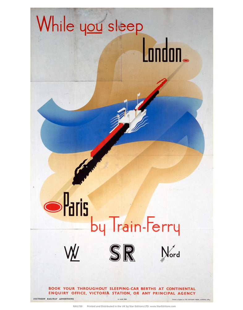 "While you Sleep london to paris - Train ferry Southern Rail 24"" x 32"" Matte Mounted Print"