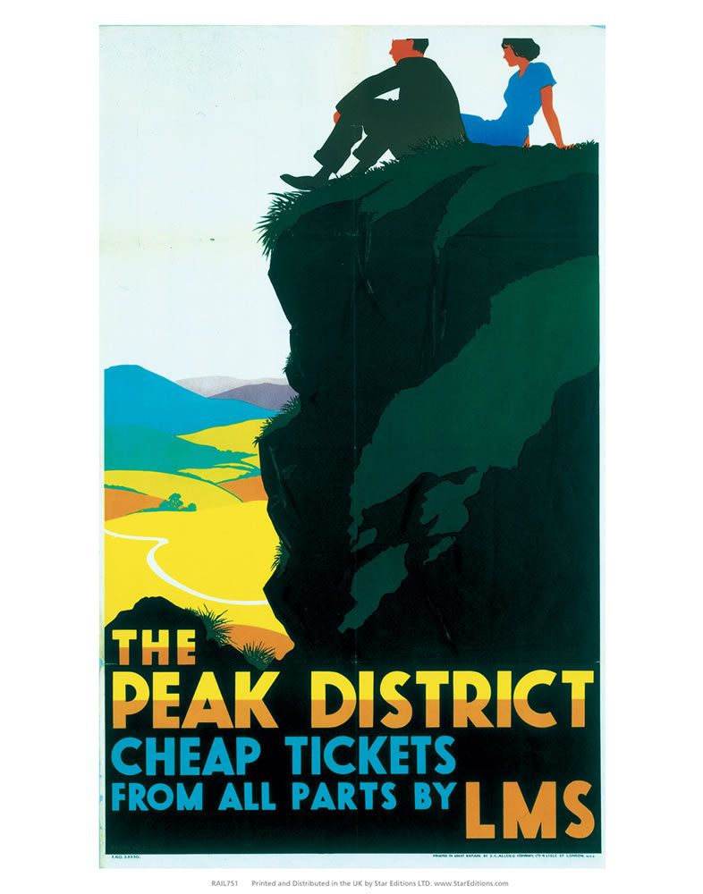 "Peak District cheap tickets from all parts - LMS 24"" x 32"" Matte Mounted Print"