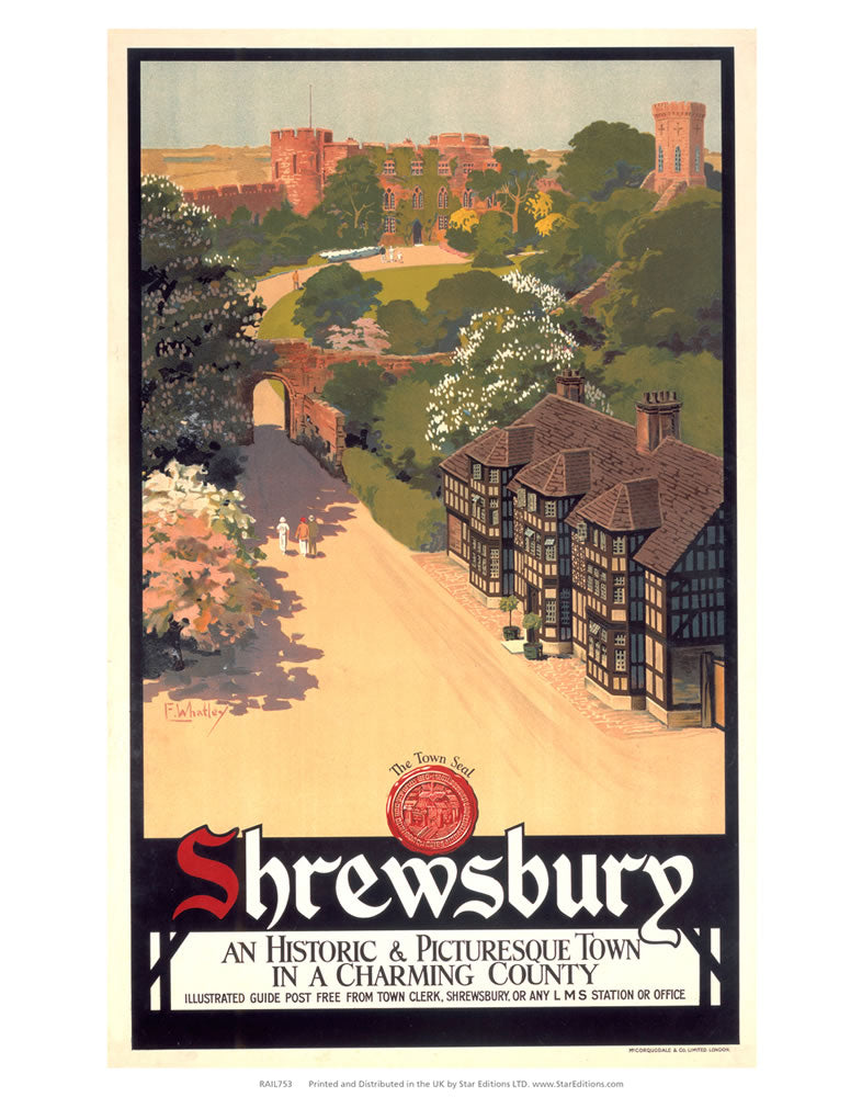 "Shrewsbury - Historic and Picturesque town in a charming county 24"" x 32"" Matte Mounted Print"