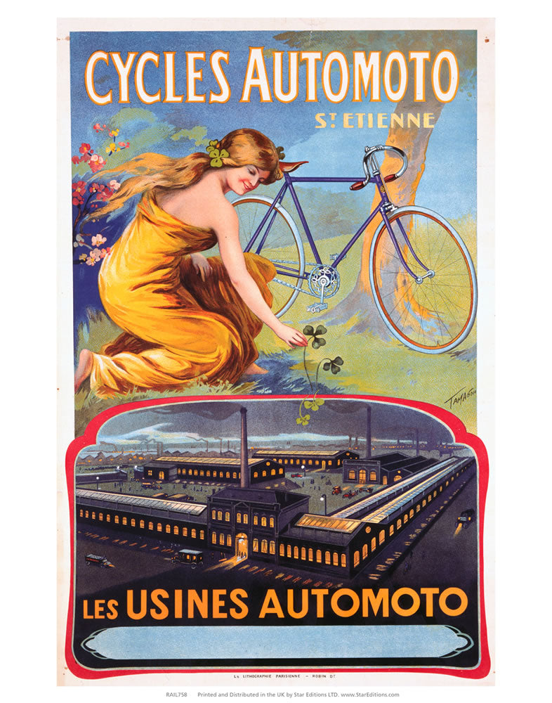 "Cycles Automoto - Les Usines Automoto 24"" x 32"" Matte Mounted Print"
