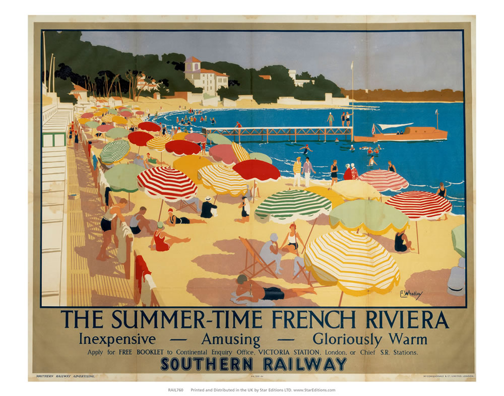 "Summer-time French Riviera - Inexpensive amusing gloriously warm 24"" x 32"" Matte Mounted Print"