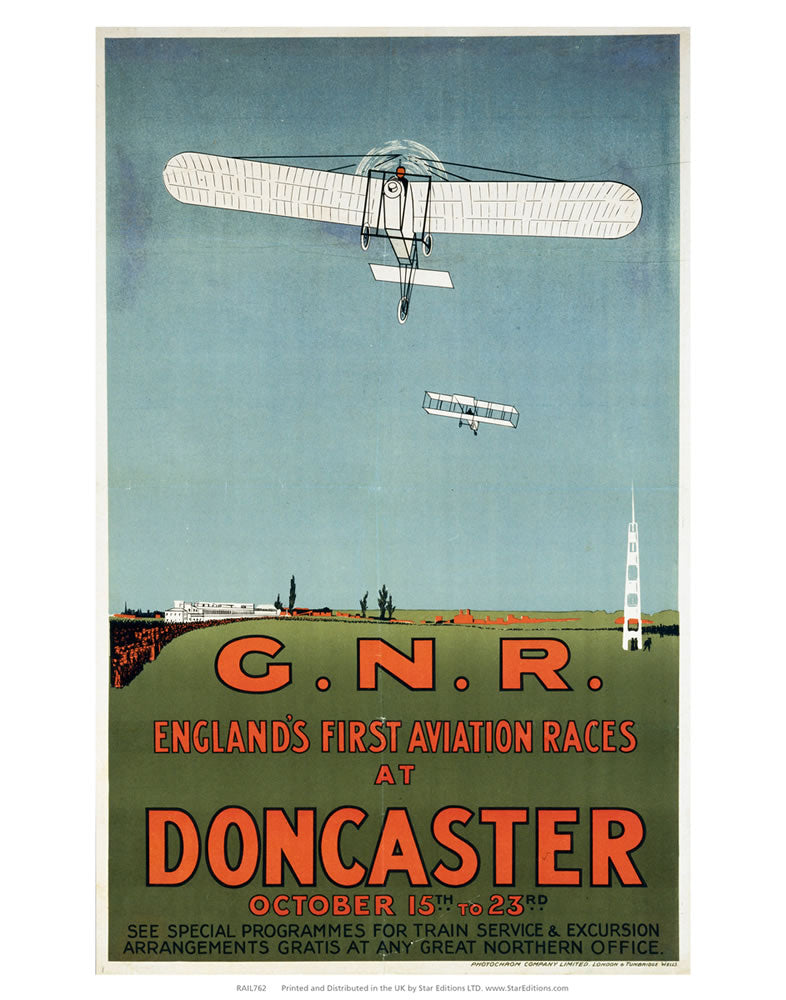 "Englands First Aviation Races at Doncaster - GNR 24"" x 32"" Matte Mounted Print"