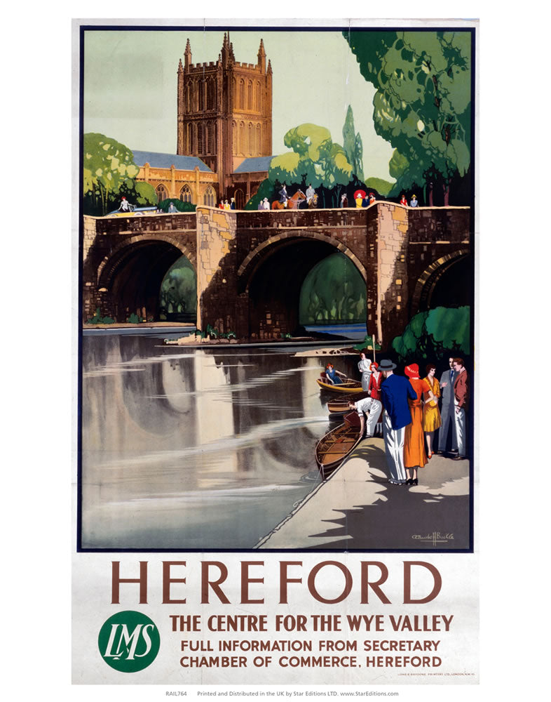"Hereford The Center for the Wye valley - LMS 24"" x 32"" Matte Mounted Print"